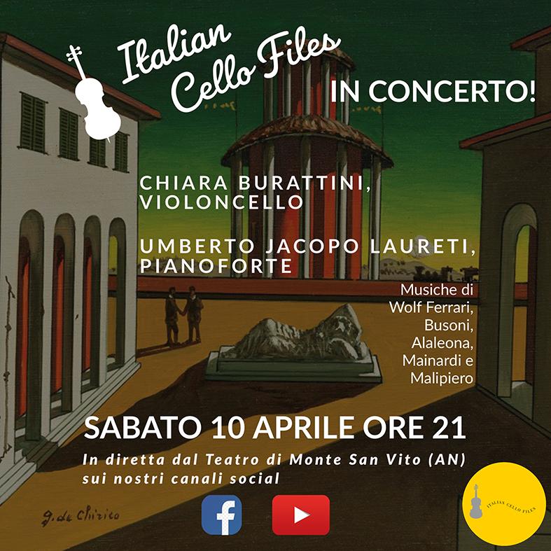 """SABATO 10 APRILE """"ITALIAN CELLO FILES IN CONCERTO!"""" CON CHIARA BURATTINI AL VIOLONCELLO E UMBERTO JACOPO LAURETI AL PIANOFORTE"""